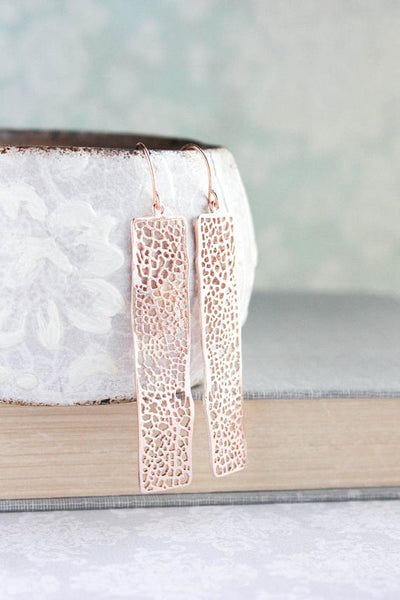 A Pocket of Posies - Rose gold lace filigree earrings