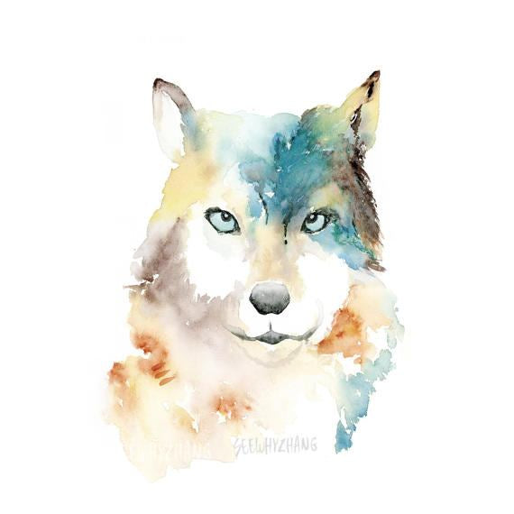 SeeWhyZhang Design - Wolf Watercolor Art Print