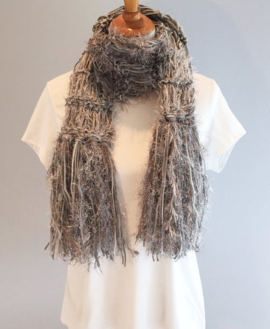 Crickets' Creations - Gray scarf - handmade