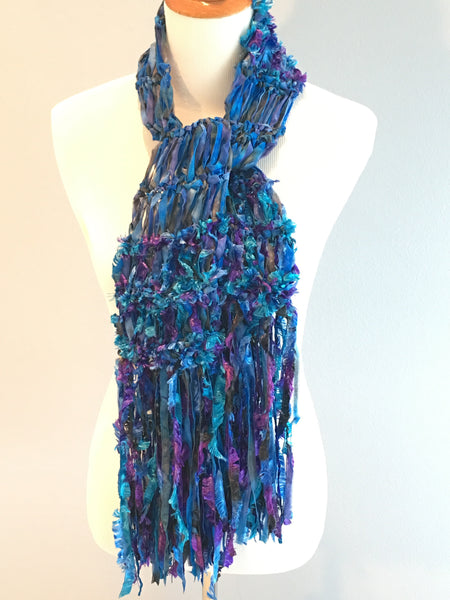Crickets' Creations - Blue and purple ribbon scarf - handmade