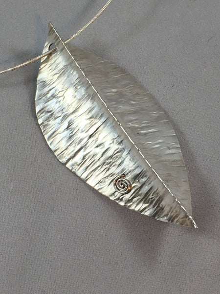 Spirit House - Silver leaf with turquoise on silver neckwire