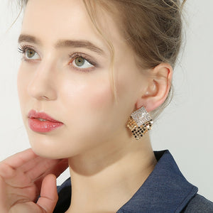 Shiny Gold Silver Tassel Stud Earrings