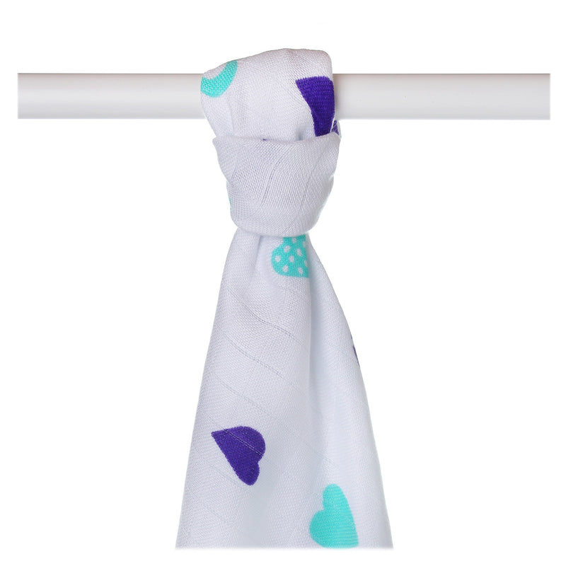 Supersoft Muslin Towel - Ocean Blue Hearts - Mamastore