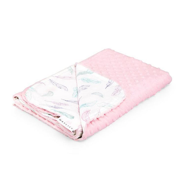 Bamboo blanket for children - Powder pink feathers - Mamastore