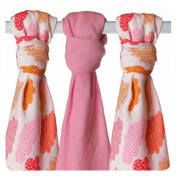Multi-use bamboo muslin Trio-pack  - Coral Heaven - Mamastore