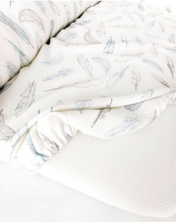 PREMIUM Babynest - Silver feathers Blue - Mamastore