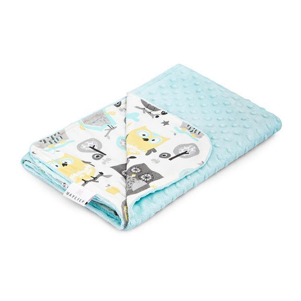 Bamboo blanket for children - Owls in turquoise - Mamastore