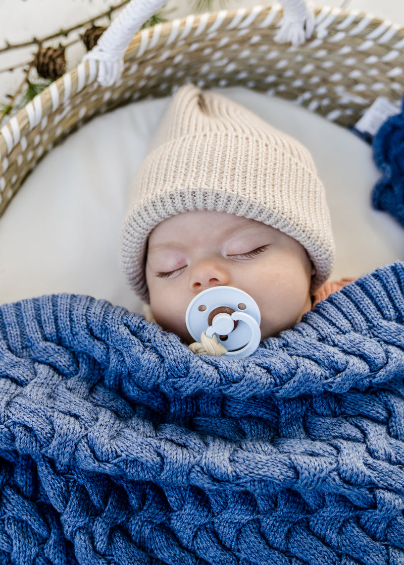 Merino baby blanket - Denim