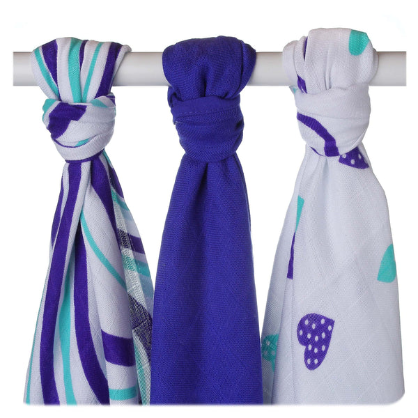 Multi-use bamboo muslin Trio-pack  - Ocean Hearts&Waves - Mamastore