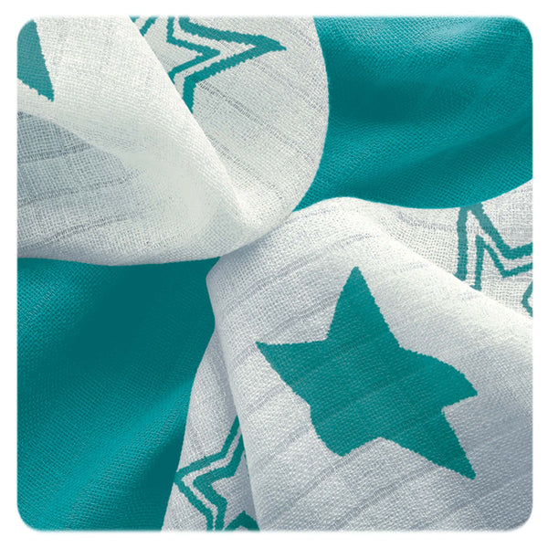 Multi-use bamboo muslin Trio-pack - Turquoise stars - Mamastore