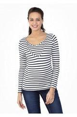 2in1 maternity and nursing top V neck - Blue Stripes - Mamastore