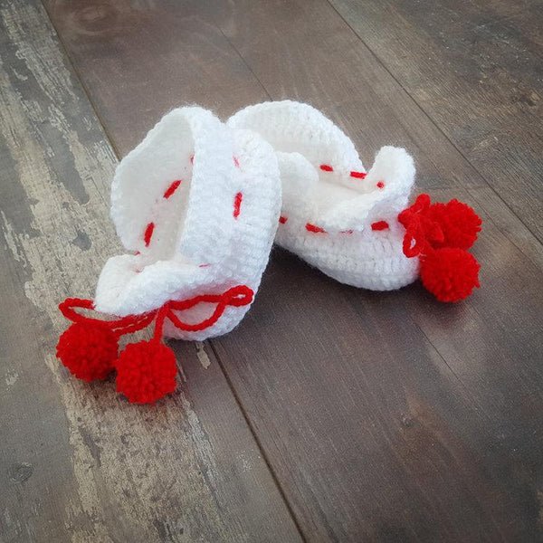 Baby feet warmers  - snowflake red - Mamastore