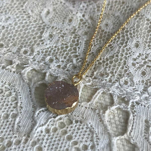 druzy quartz necklace | medium