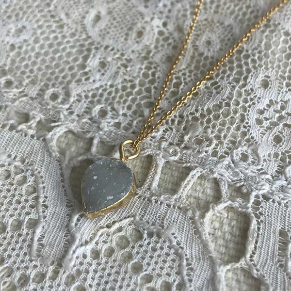 druzy quartz | drop necklace | 24k gold-plated