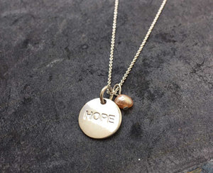 hope coin and sweet water pearl necklace