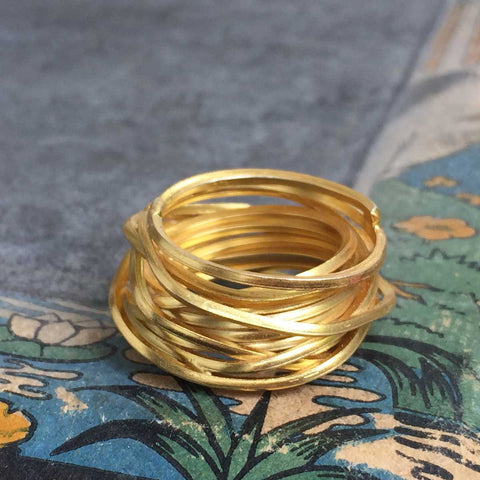 nest ring - 24 k gold plated