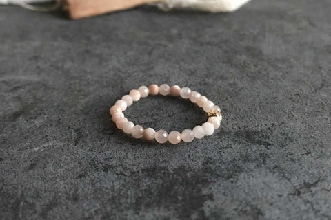 peach moonstone | adjustable ring