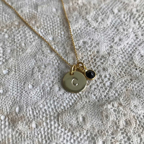 onyx | 'initial coin' necklace | 24k gold plated