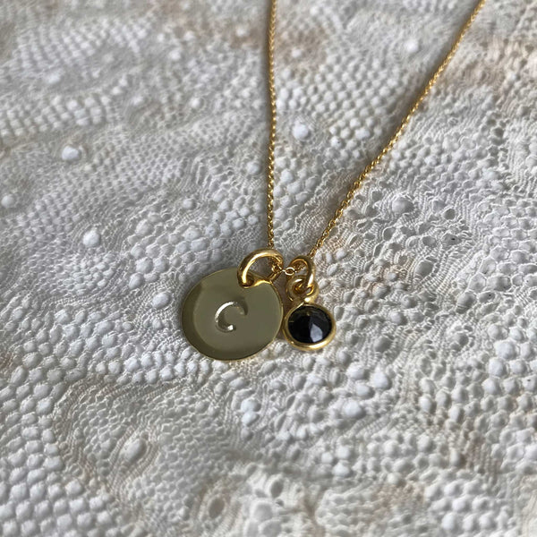 Initial coin and onyx necklace - gold plated