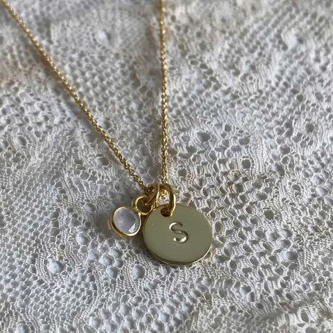 moonstone | 'initial coin' necklace | 24k gold plated