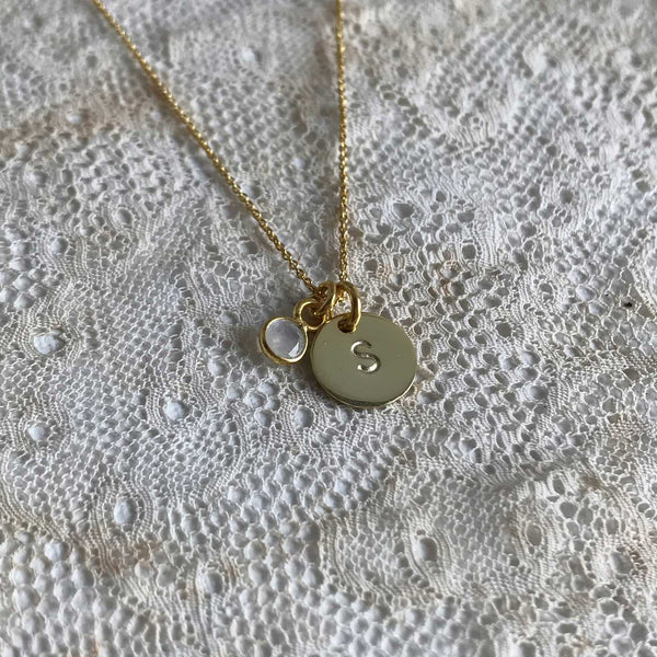 Initial coin and moonstone necklace - gold plated