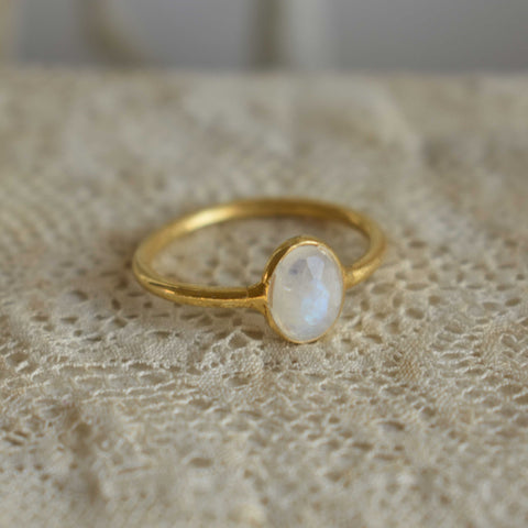 moonstone | 'laia' ring | 24k gold-plated