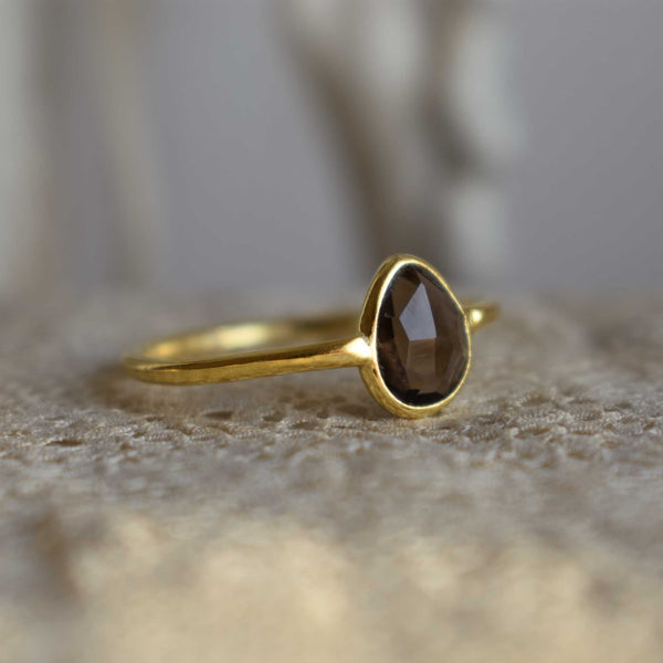 smoky topaz | 'laia' ring | 24k gold-plated