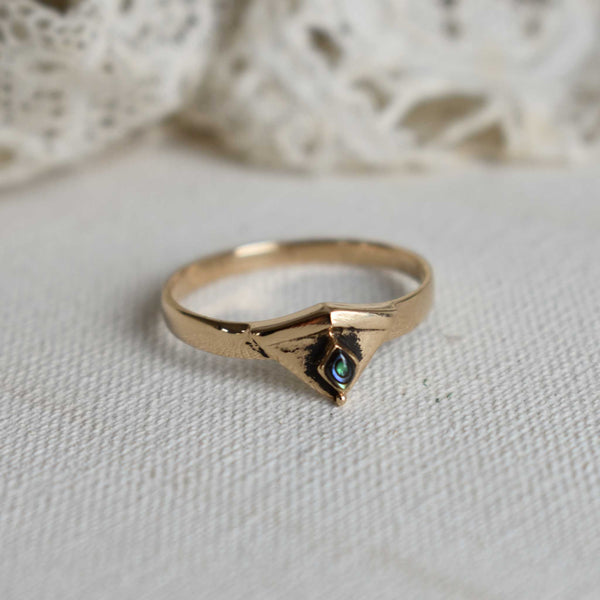 art deco triangle bronze ring with abalone
