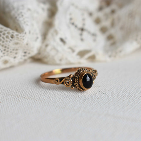 onyx | 'braided' ring | bronze
