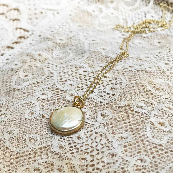 necklace *coin pearl* - gold plated