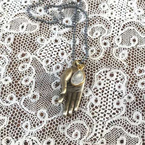 moonstone | 'buddha hand' necklace | bronze