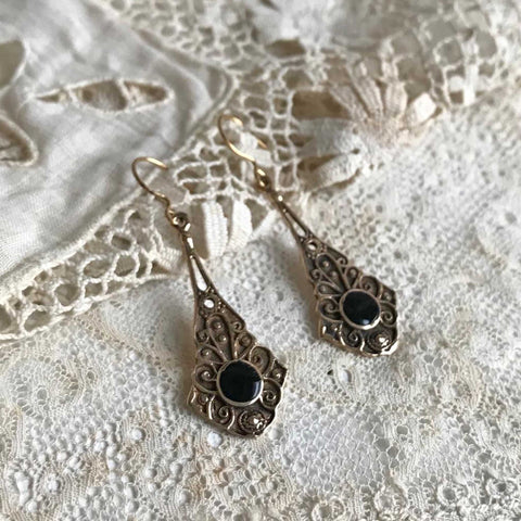 onyx | 'iona' earrings | bronze