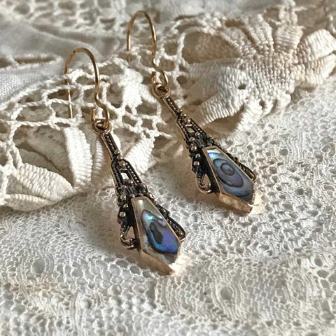 chatra earrings with abalone