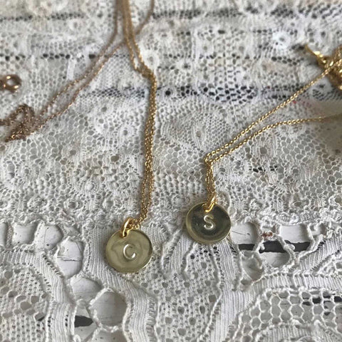 Initial coin necklace - gold plated