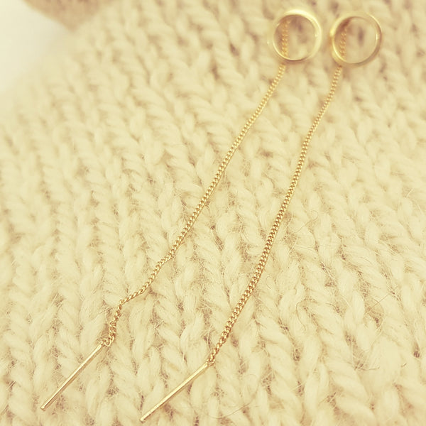 Hoop earrings with long chain
