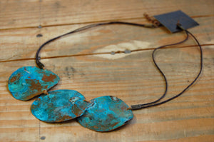 "argentine ""cobre"" turquoise patina necklace"
