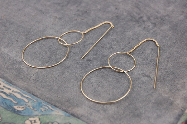 two rings chain stick earrings (925 silver gold-plated)