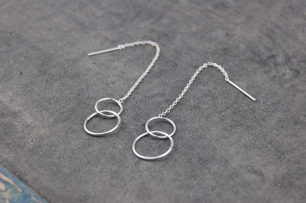 two small rings chain stick earrings (925 silver)