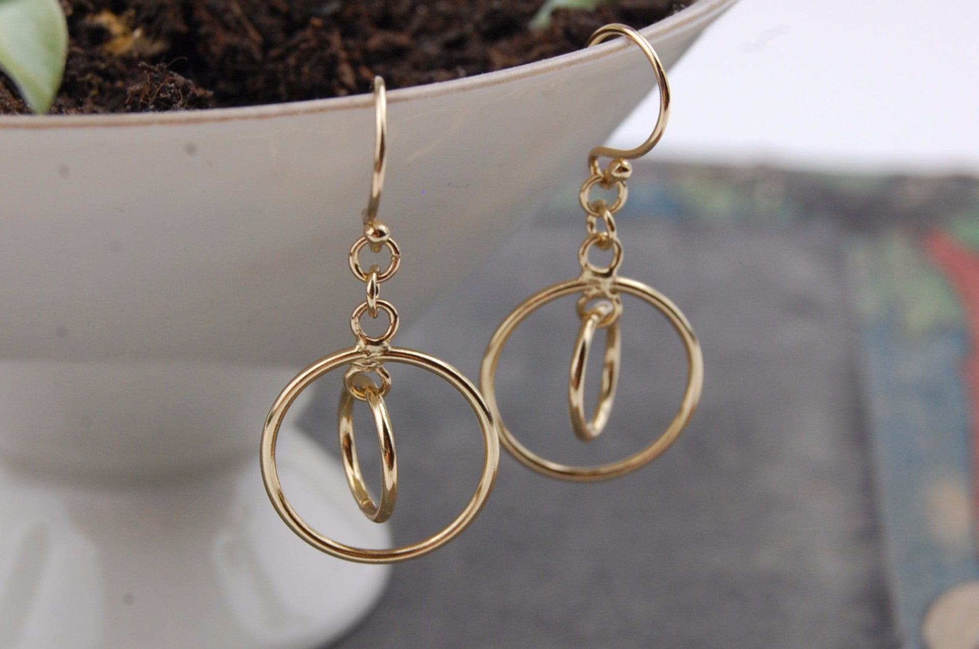 orbital 'two rings' earrings