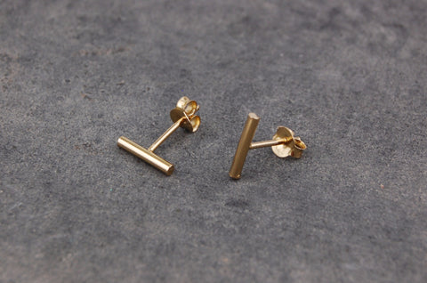 small stick earstuds (925 silver gold-plated)