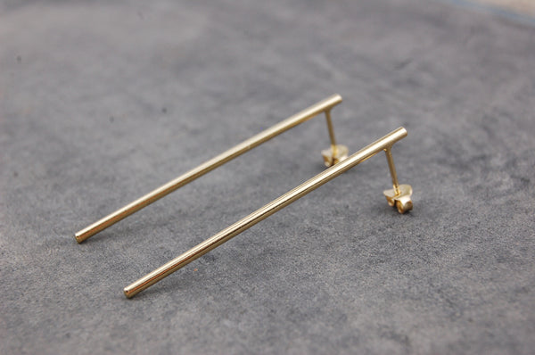 long bar earrings (925 silver gold-plated)