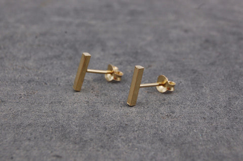 small bar earstuds (925 silver gold-plated)