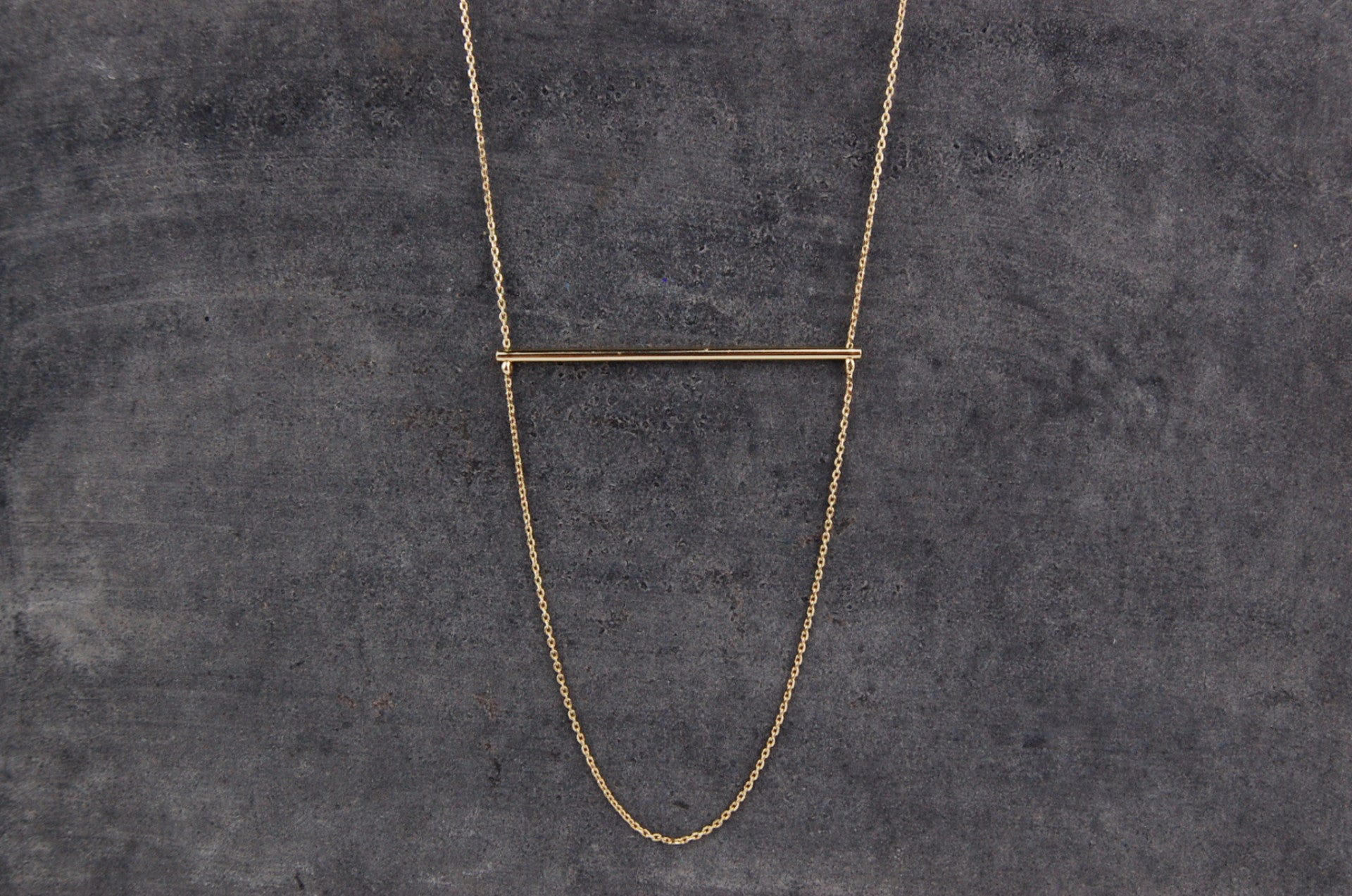 horizontal bar necklace | 24k gold-plated
