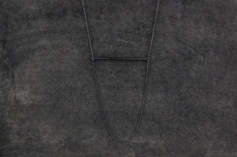 horizontal bar necklace (925 silver oxidised)