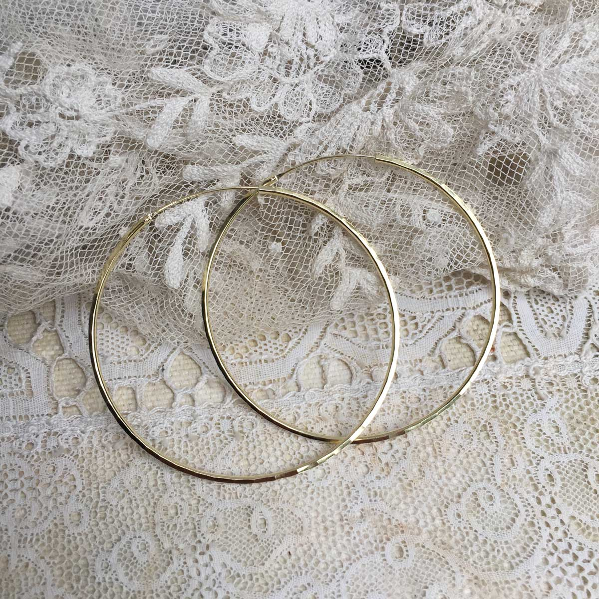 faceted maxi hoops - 24 k gold plated