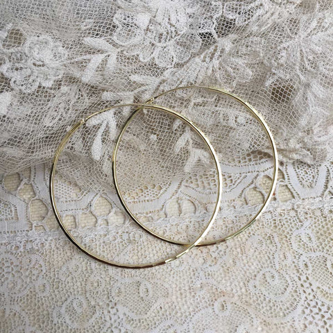faceted hoops - 24 k gold plated - 60mm