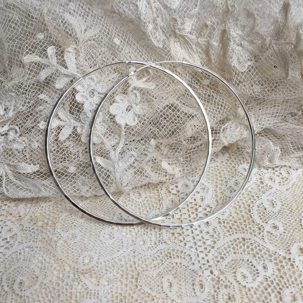 'faceted' hoops | 925 silver | 60mm