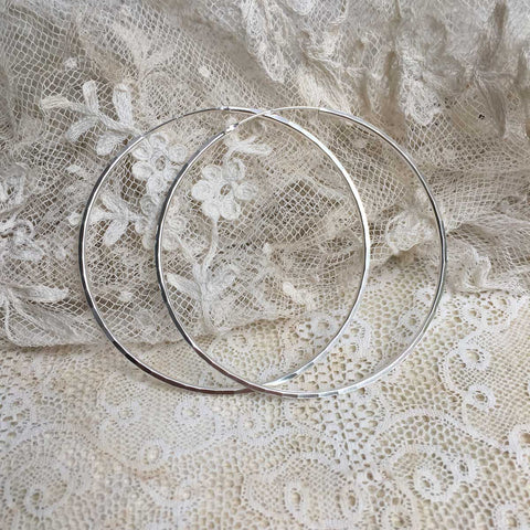 faceted hoops - silver - 60mm
