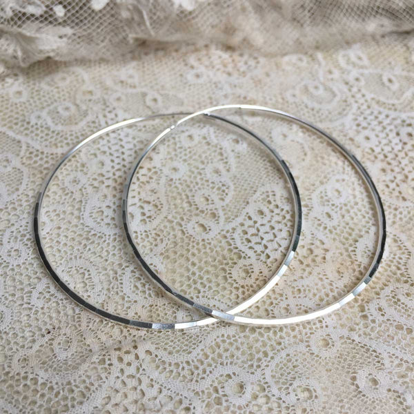 faceted maxi hoops - silver