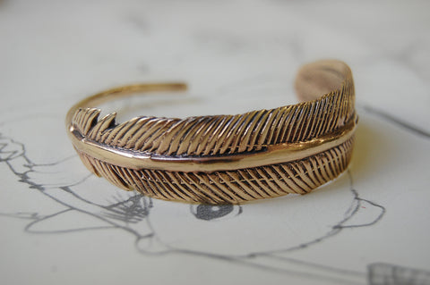 feather bronze bracelet
